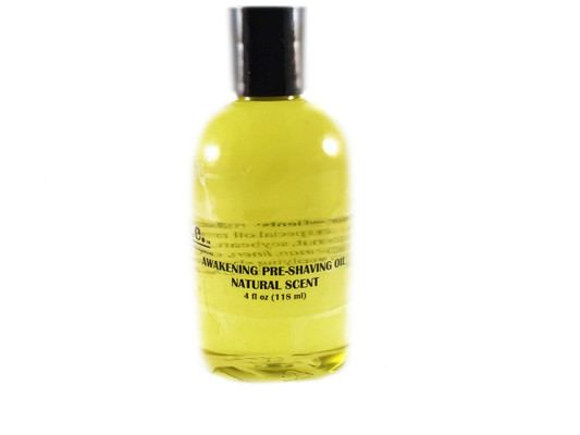 AWAKENING PRE-SHAVING OIL:  This light oil is used prior to applying shaving cream to soften the hair and prepare the skin for close shaves.  FOR EXTERNAL USE ONLY.  Ingredients:  Made with a special oil mixture containing castor oil, aloe vera oil, grape seed oil, organic unrefined coconut oil, soybean oil, vitamin E, and fragrance oil.  Size:  4 fl. oz. (118 ml).