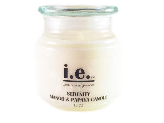 SERENITY SCENTED CANDLE:  This fragrant candle—when lit—provides a scintillating aroma while providing a relaxing environment for you to relieve stress, enjoy a private moment, or meditate.  Ingredients:  Each candle is made with soy wax and essential oils/fragrance oils.  Some candles may have vegetable wax, beeswax, additive coloring and embellishments such as sea shells and waterfall rocks.  Size:  16 oz.  Available in a variety of scents.  Each candle should only be burned for up-to two hours at a time.  Trim the wick prior to re-lighting the candle.  Burn on heat-resistant surfaces.  CAUTION:  Always use caution when lighting a candle.  Do not keep any candle lit that is unattended.  Keep out of reach of children and away from pets.  Keep away from items that may catch fire.  Keep clear from drafty areas.