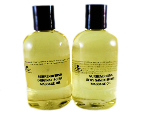 SURRENDERING MASSAGE OIL:  Treat yourself to a relaxing Massage to relax your body, renew your mind, and revive your spirit.  It will glide across your body while soothing away the tension in your muscles.  Ingredients:  this special oil mixture containing sweet almond oil, castor oil, grape seed oil, aloe vera oil, jojoba oil, argan oil, safflower oil, sunflower oil, vitamin E, and fragrance oil.   Size: 4 fl. oz. (118 ml).  FOR EXTERNAL USE ONLY.  A variety of scents are available.  Customers absolutely love sexy sandalwood and the original scent.