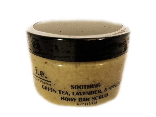 SOOTHING BODY BAR SCRUB:  This soothing body bar scrub is a delight to senses.  You will smell delightful, You will notice the protection it gives your skin, making it feel soft and radiant.  A little goes a long way to adding moisture in your skin while providing a mild exfoliation.  It is filled with all things good for your skin adding deep moisturizing properties and vitamins.  FOR EXTERNAL USE ONLY.  Ingredients:  Made with a special butter blend of pure african shea butter, mango butter, and almond butter; dead sea salt, crushed almonds, crushed brown rice, organic unrefined coconut oil, argan oil, jojoba oil, vitamin E, beeswax, green tea powder, lavender flower powder, essential oils.  Size:  4 oz.  Also available (minus scrub) is the 8 oz body bar in a jar.  Request special order.  It is a moisturizing bar that is used for your body.  Choose our signature blend, green tea, lavender, and vanilla or another essential oil scent.