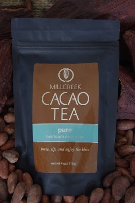 """Experience the tranquility, beautiful aromas, and delicate flavors of Cacao Tea.  We introduce a unique blend of tea that combines roasted cacao nibs and theobromine-rich shells into a blissful cup of tea. Made from the same 100% single source Ecuadorian cacao beans used in our artisan chocolate, this tea has a delicate cacao flavor with beautiful aromas. Complement the chocolate nuances with the health benefits of cacao and experience a lovely, relaxing, and blissful tea.  Using our knowledge as farm to bar chocolate makers, we have crafted a delicate cacao tea using our rare, heirloom Arriba Nacional beans. Imported directly from our farmer in the Los Rios region of Ecuador, this exotic and rare bean is roasted to release the beautiful flavors within. This Heirloom Cacao Tea uses both roasted nibs and theobromine-rich shells to create a delicate tea with lovely chocolate nuances.  Cacao Benefits:  Rich in antioxidants, amino acids, and magnesium Cacao contains Theobromine, said to give a euphoric feeling Cacao contains Anandamide, an endorphin, whose name appropriately translates as """"bliss"""" Brew, sip and enjoy the bliss"""