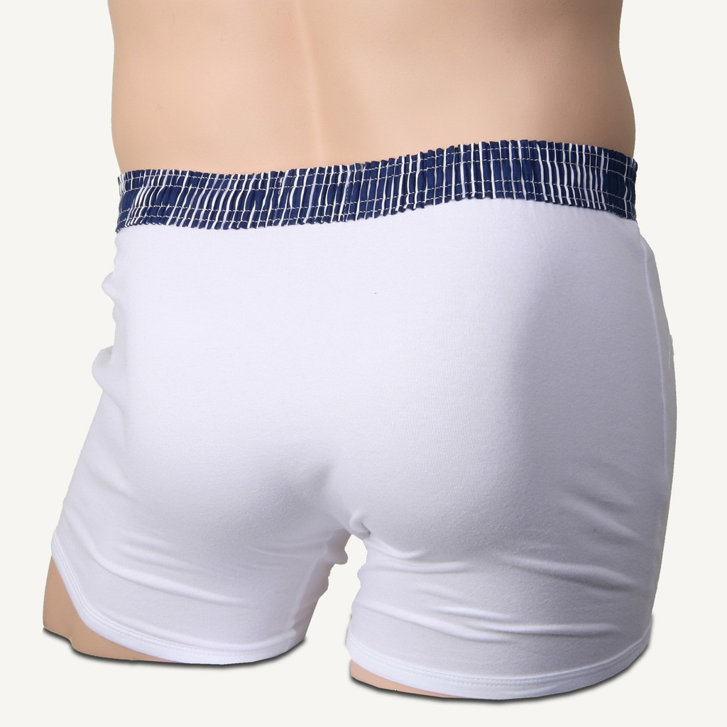vy Blue Stripe over White Short Boxer Brief