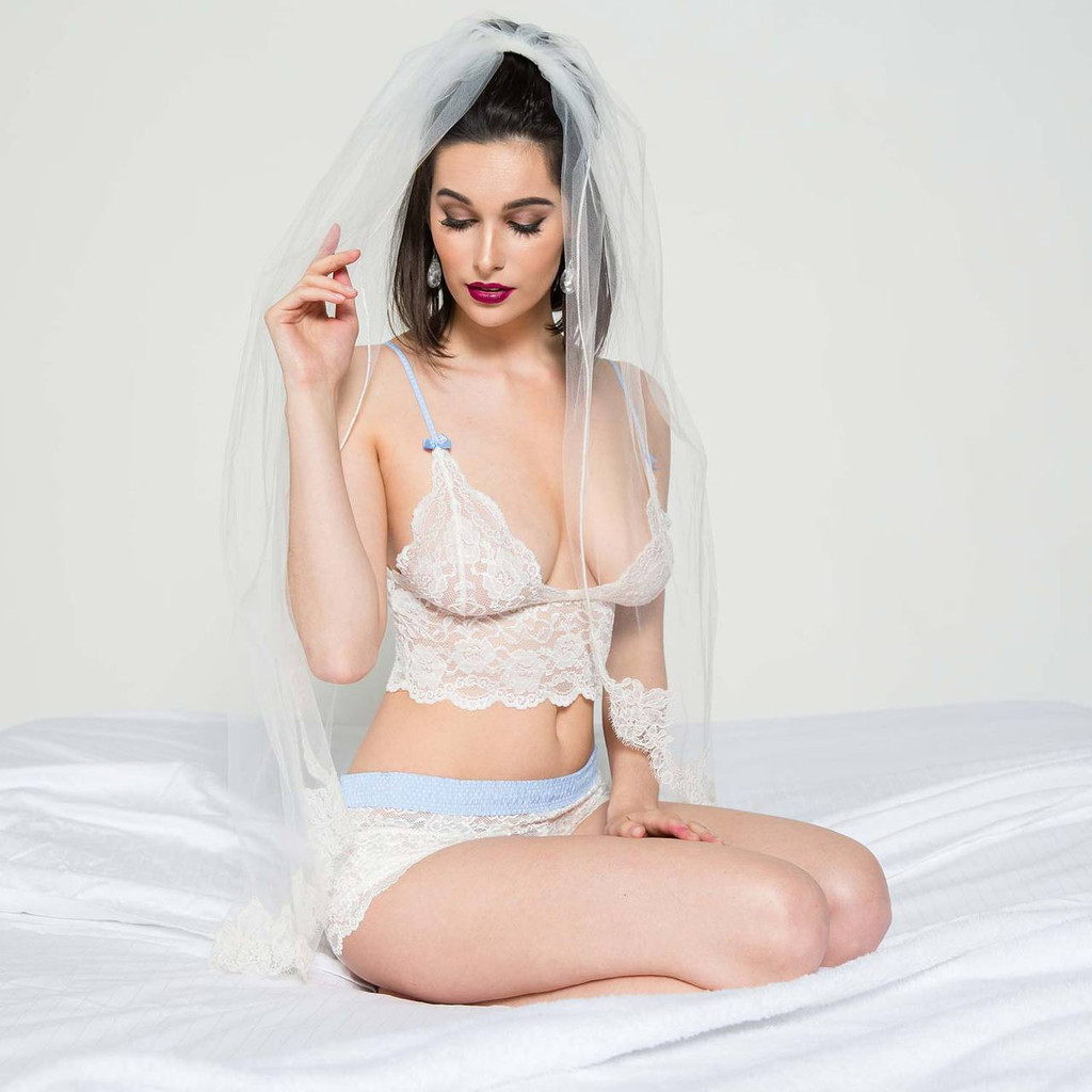 Wedding Lingerie Set - White Lace Boxer Briefs and Bralette Cami with Light Blue Dot Waistband and Adjustable Straps