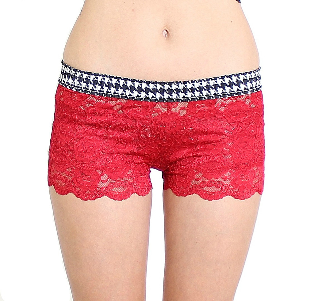 Houndstooth / Red Lace Boxers panties