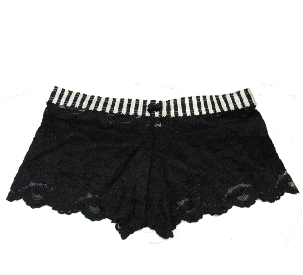Black Ivory Stripe / Black Lace Boxers