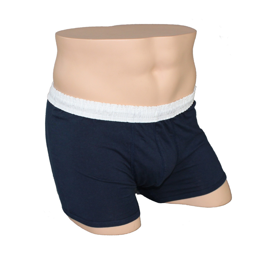 Men's White over Navy Short Boxer Brief
