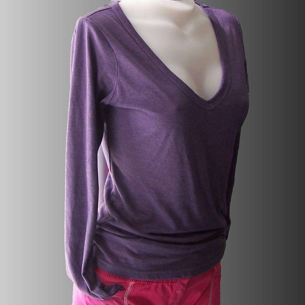 Soft V Neck Purple Long Sleeve Tshirt