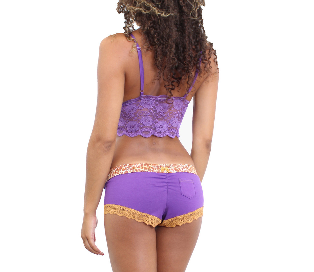 Purple Lace Crop Top Camisole