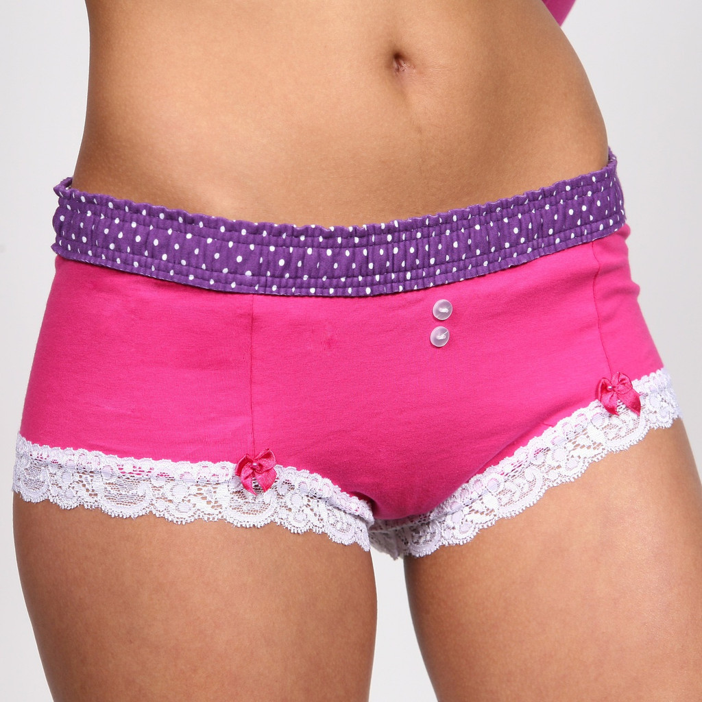 Grape Dot / Fuchsia Boyshort