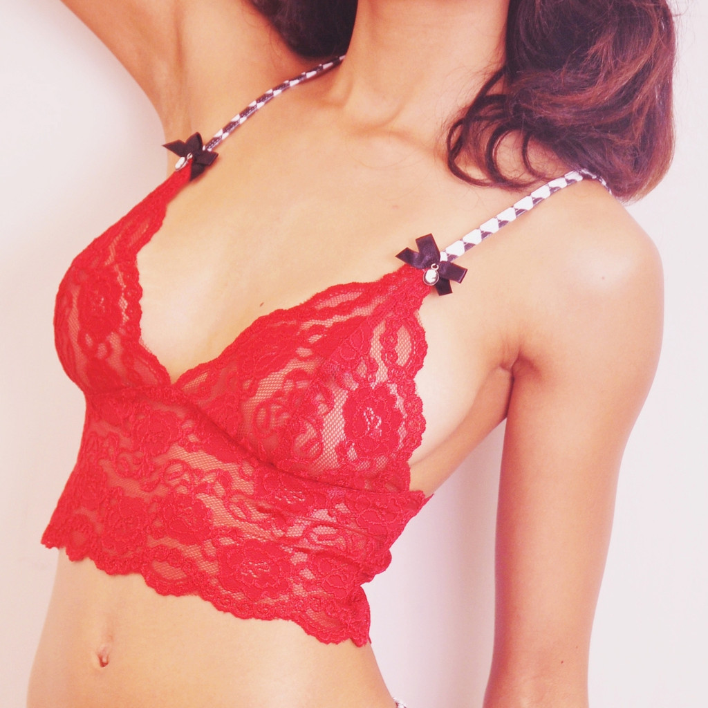 Black White Harlequin over Red Lace Cami