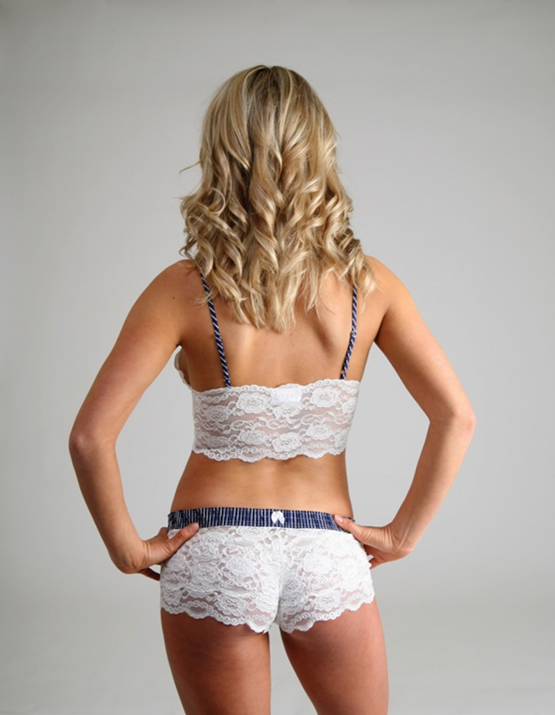 Navy Stripes on Ivory Lace Top