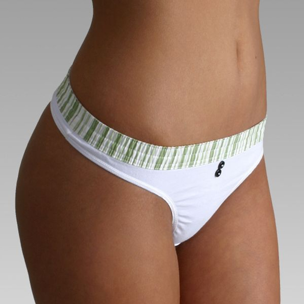 Lime Stripe over White Bstring Thong