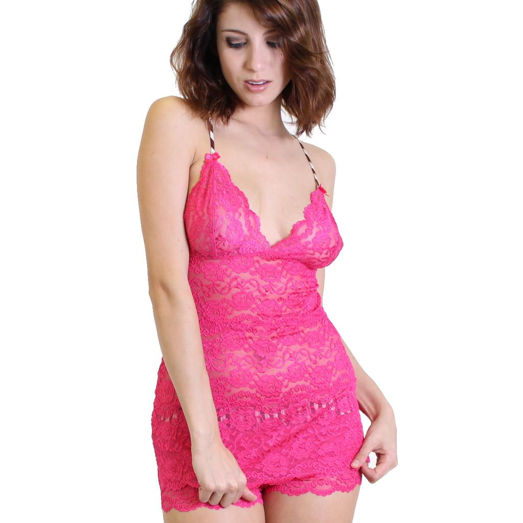 Waist Length Lace Chemise | Fuchsia