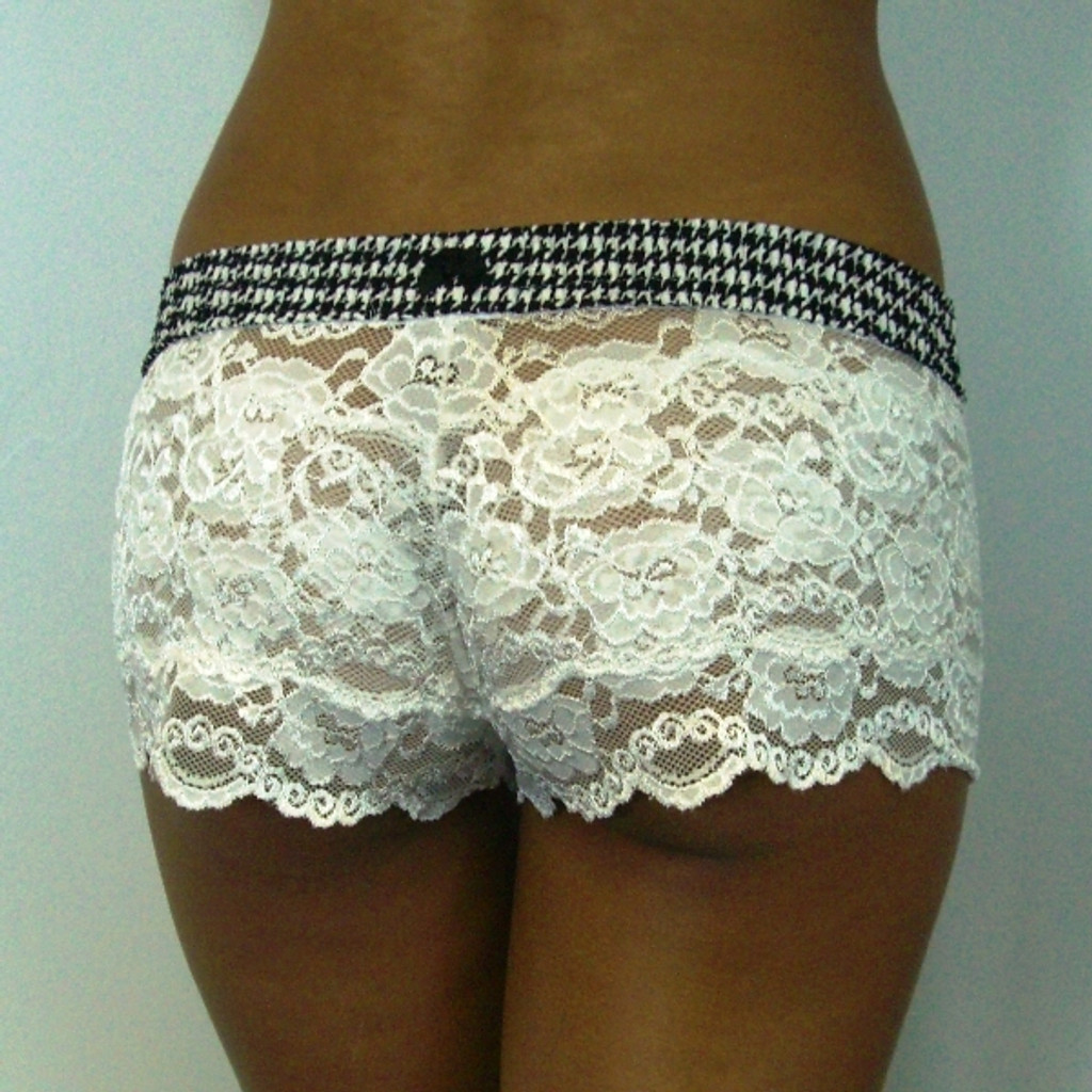 Houndstooth over Ivory Lace Boxers