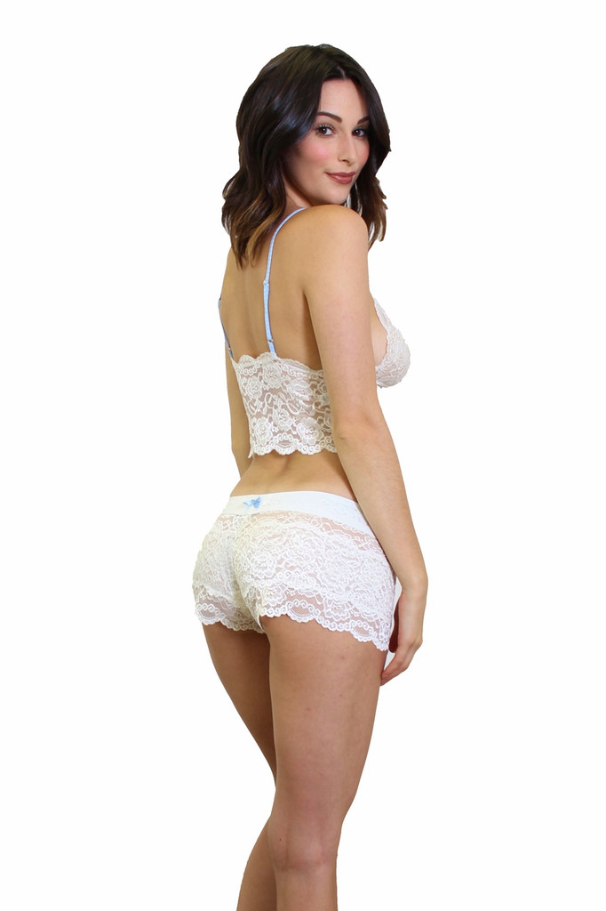 Ivory Lace Boxers Blue bow FOXERS Logo Band and Matching Lace Camisole