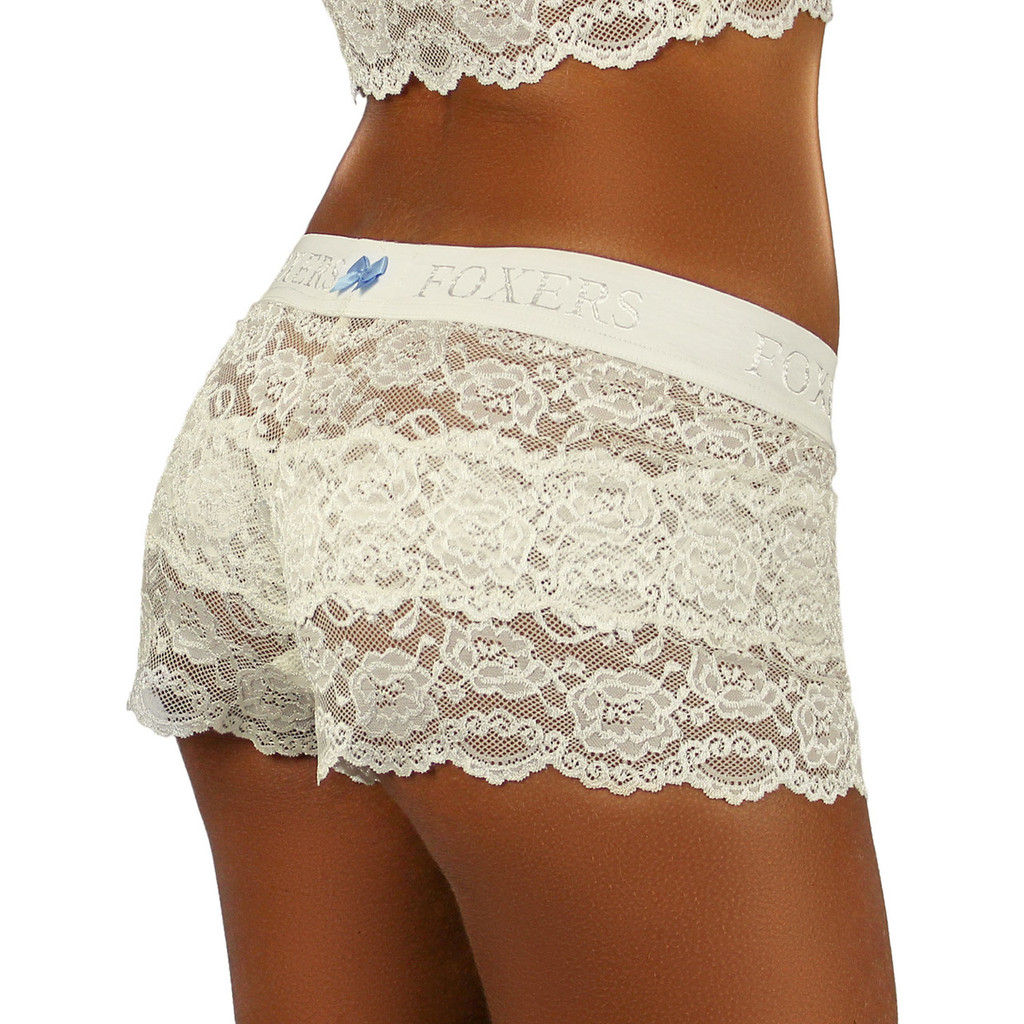 Ivory Lace Boxers for Women. Blue bow on the back of the FOXERS Logo Ivory Band