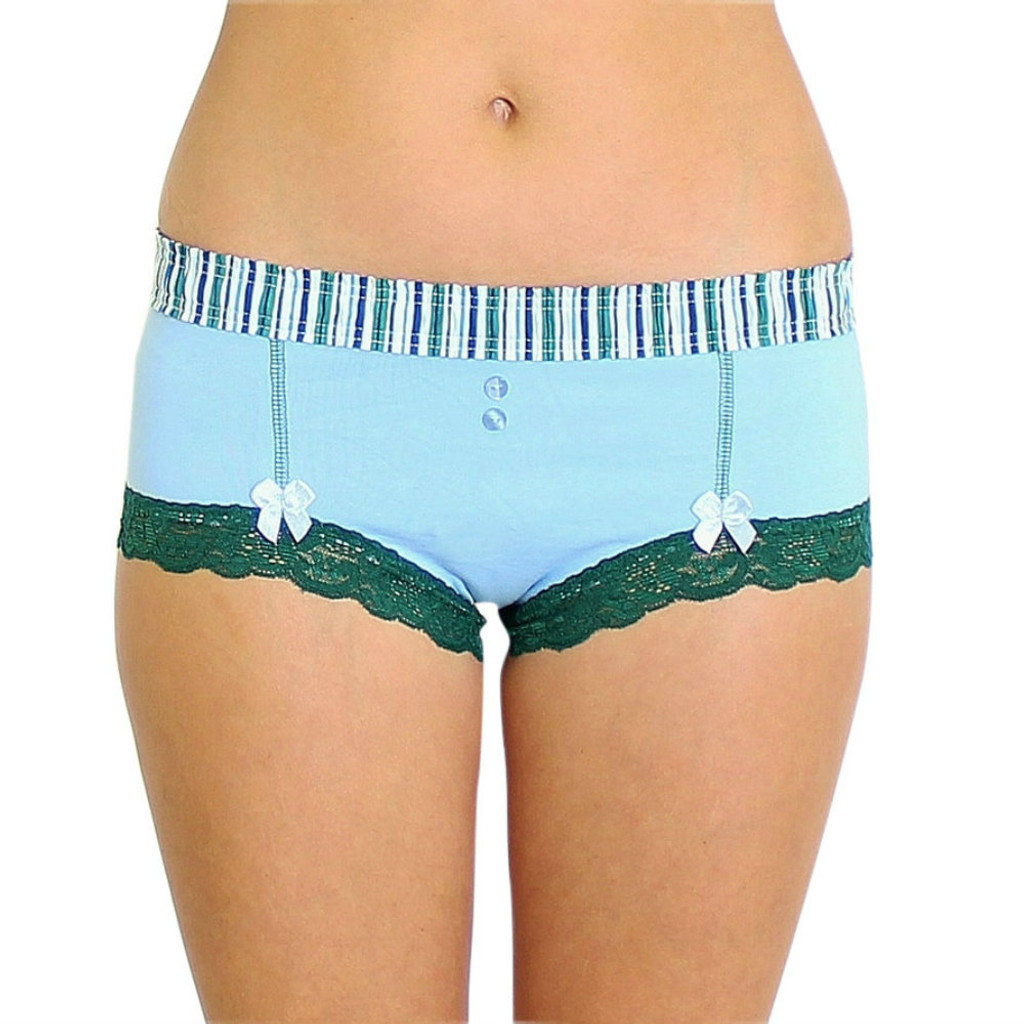 Light Blue Boyshort with Alpine Stripe FOXERS Waistband