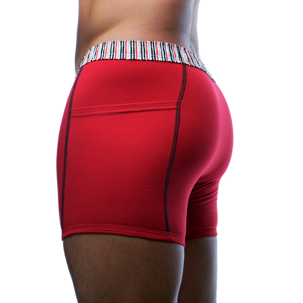 Red Boxer Underwear with Pockets