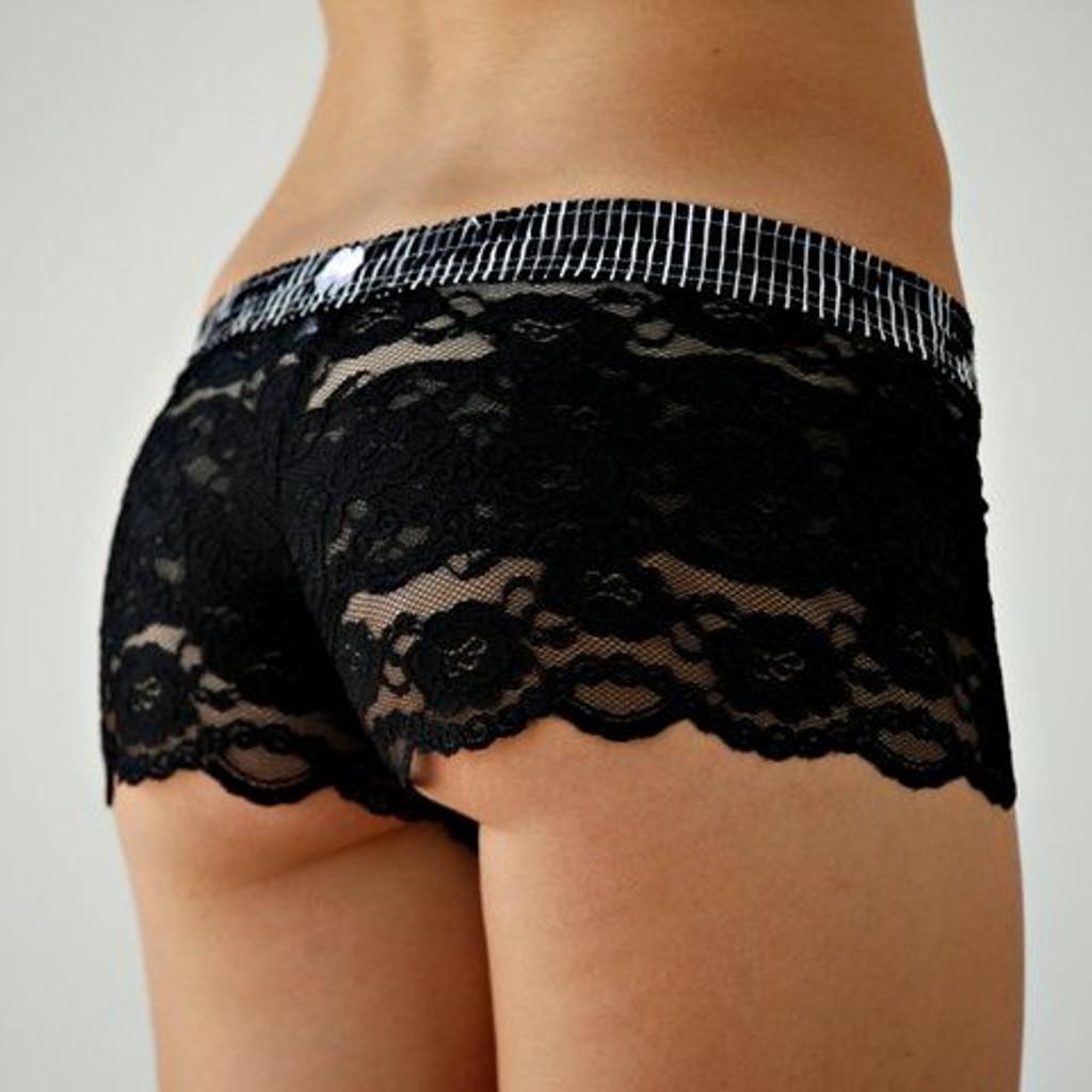 Black Stripes over Black Lace Boxers