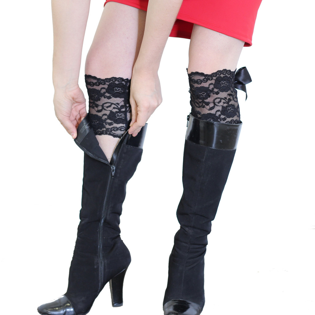 Black Lace Boot Cuffs with Black Bow - Fake stockings