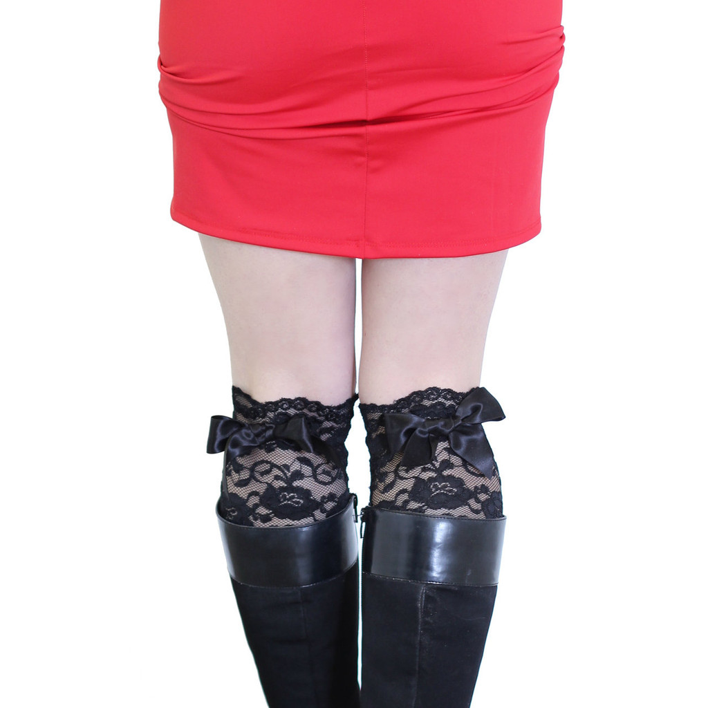 Black Lace Boot Cuffs with Black Bow - Faux stockings