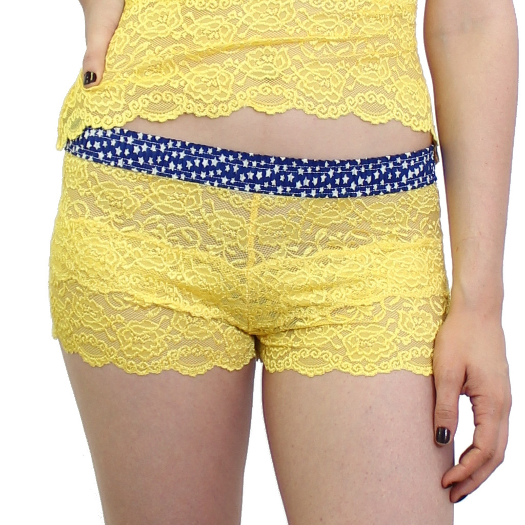 Yellow lace boxers with stars on the waistband