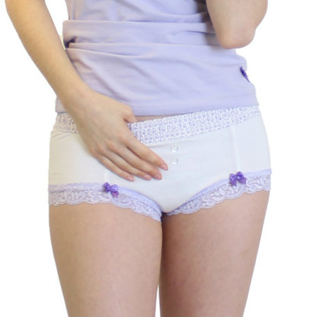 White boyshort with lavender hearts