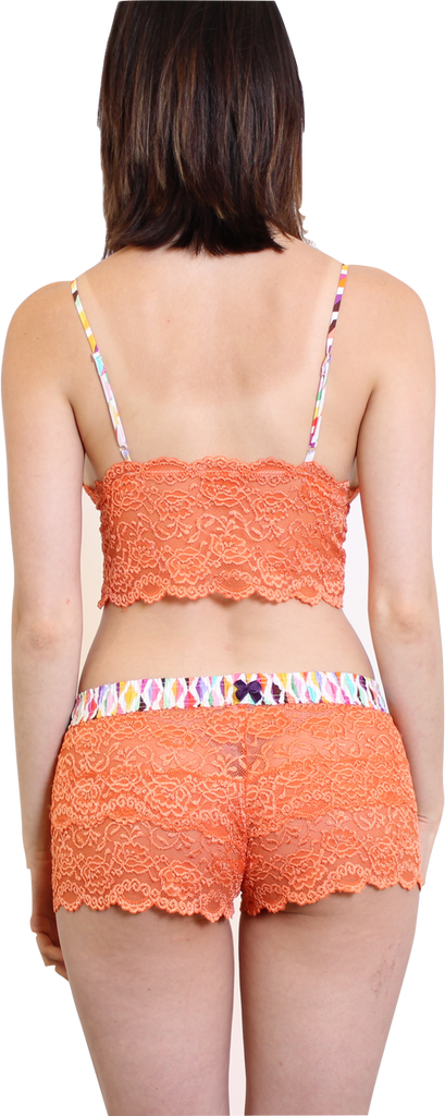 Orange Lace Boxers and matching Lace Cami Top