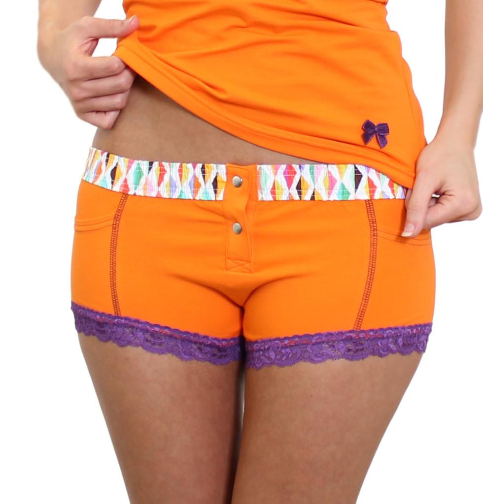 Orange Boxer Brief underwear with purple accents