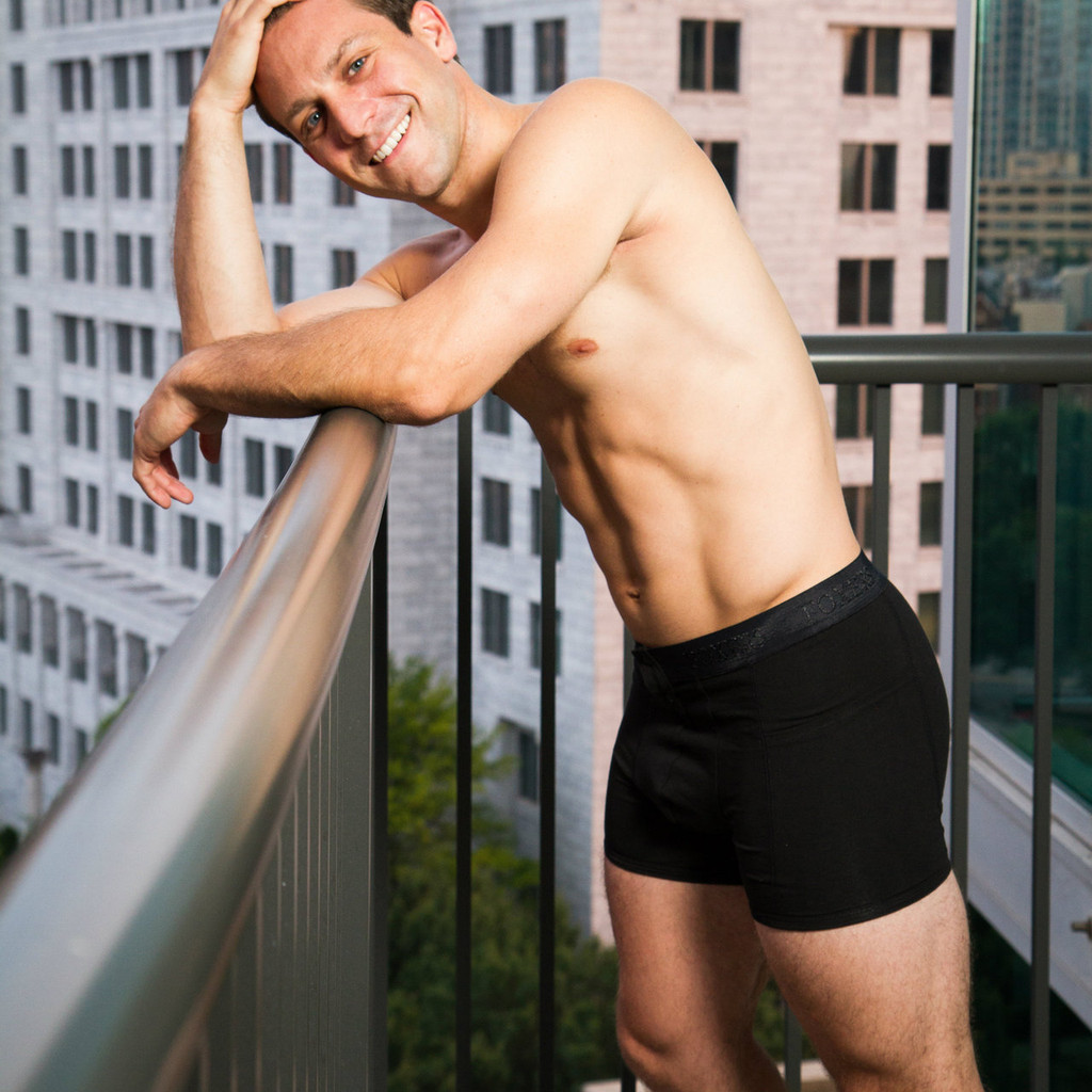 Lounging and looking at the Atlanta Skyline in Foxers Mens underwear!