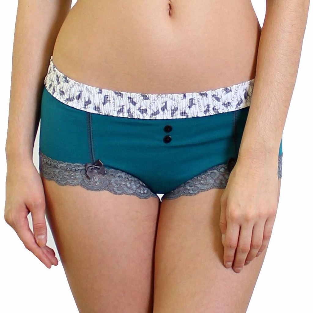 Aurora Blue Boyshort with Elk print Waistband