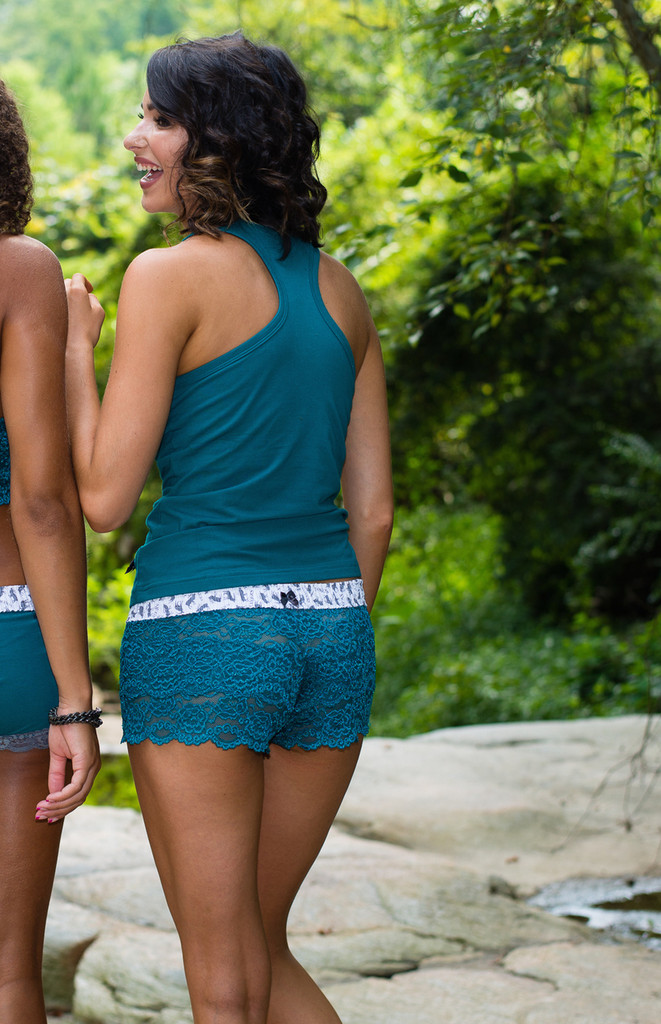 Stephy in teal lace undies and matching teal racer back tank top