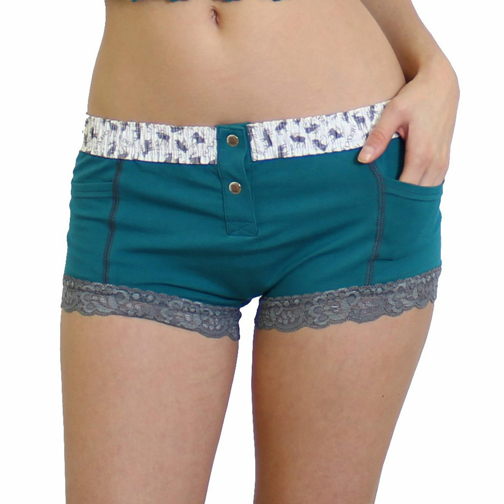 Teal boxer brief for women with built in pockets