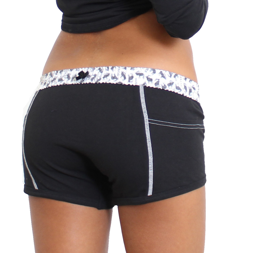 Girl's Black Boxer Brief with Elk printed waistband with side pockets