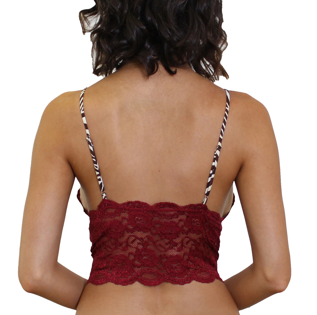 Zebra Animal Print Straps on our Sexy Cranberry Crop Top Camisole