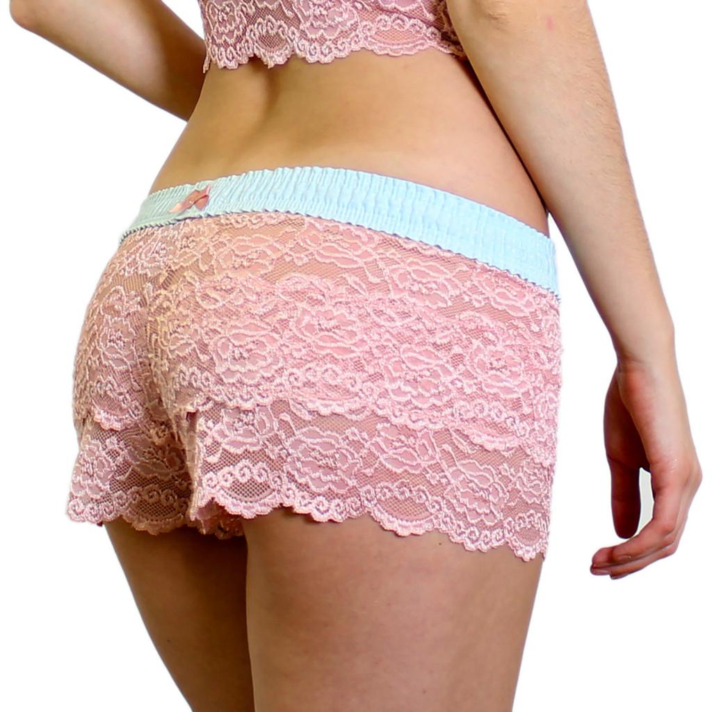 Rose Pink Floral Lace Boxer Briefs