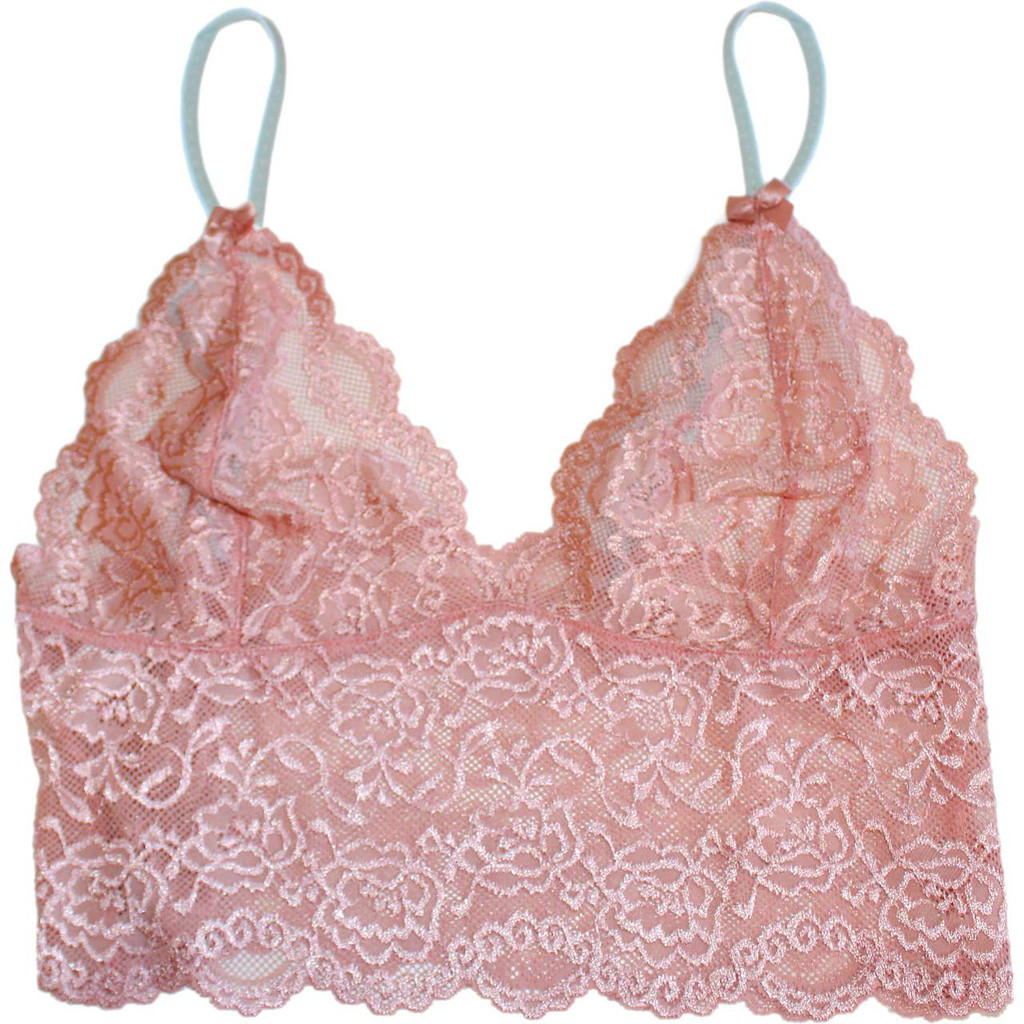 FOXERS French Rose Lace Top with Aqua Dot Adjustable Straps