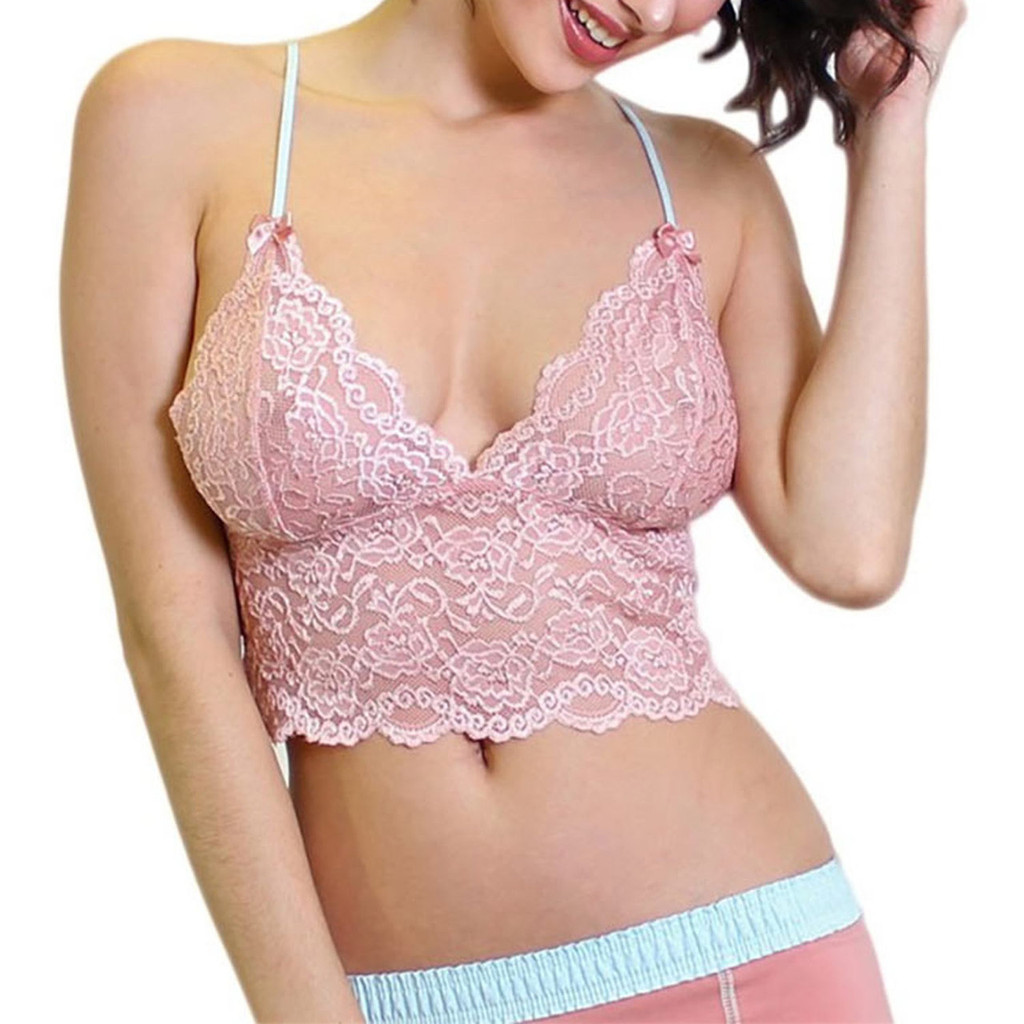 FOXERS Sexy Pink Lace Lingerie Top