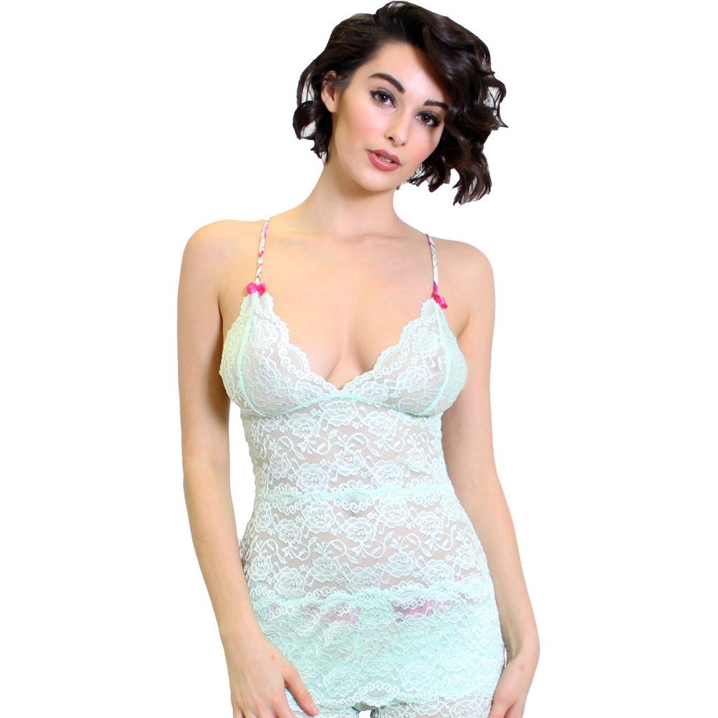 Light Mint Hip Length Lace Camisole