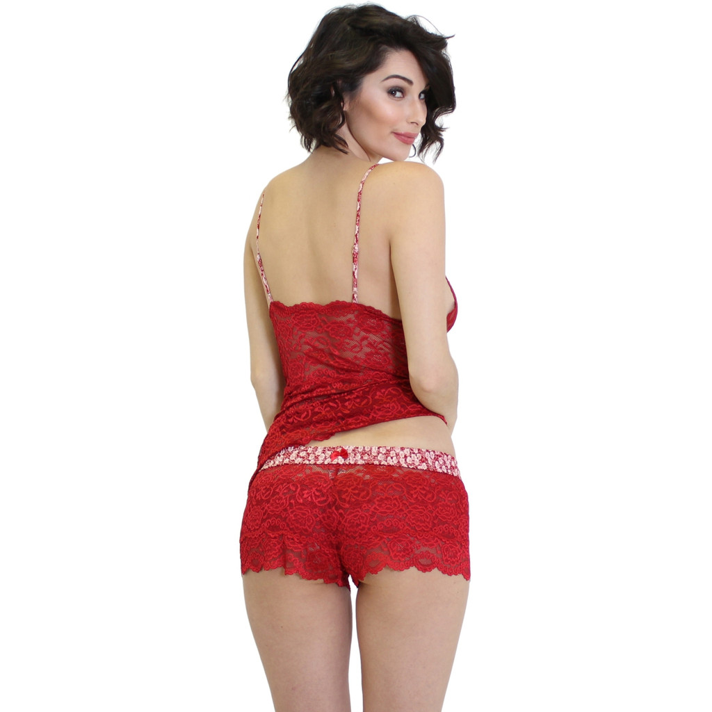 Valentines Day Red Lace Lingerie Set
