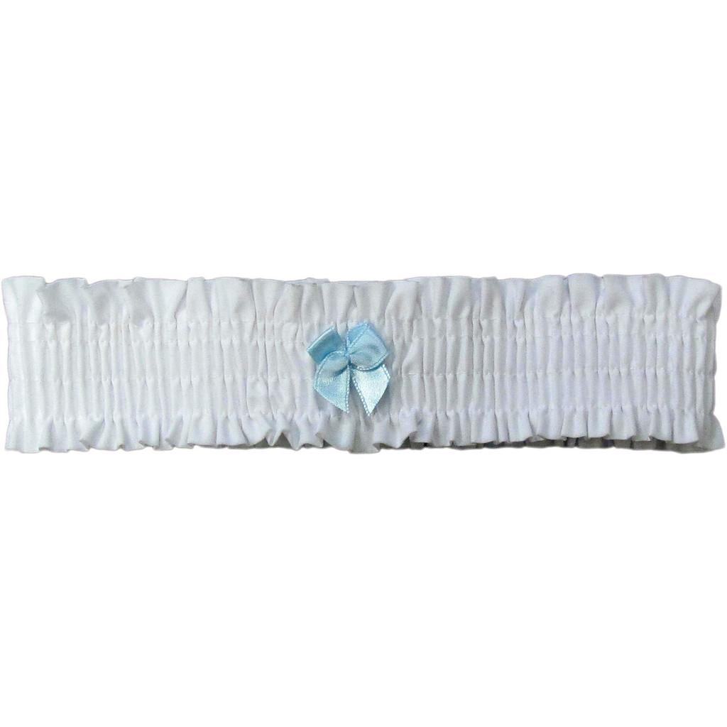 Pure White Leg Garter with Light Blue Bow