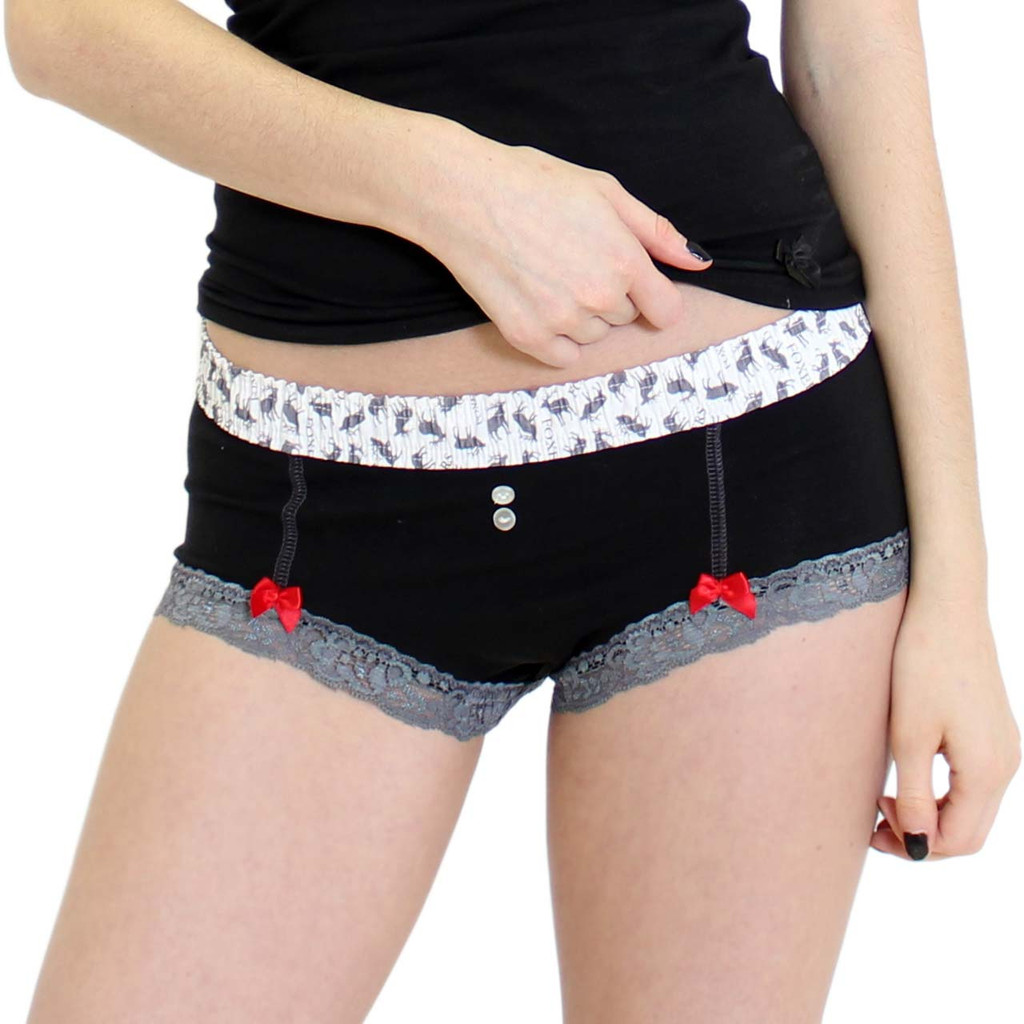 Black Boyshorts with FOXERS Elk Print Band