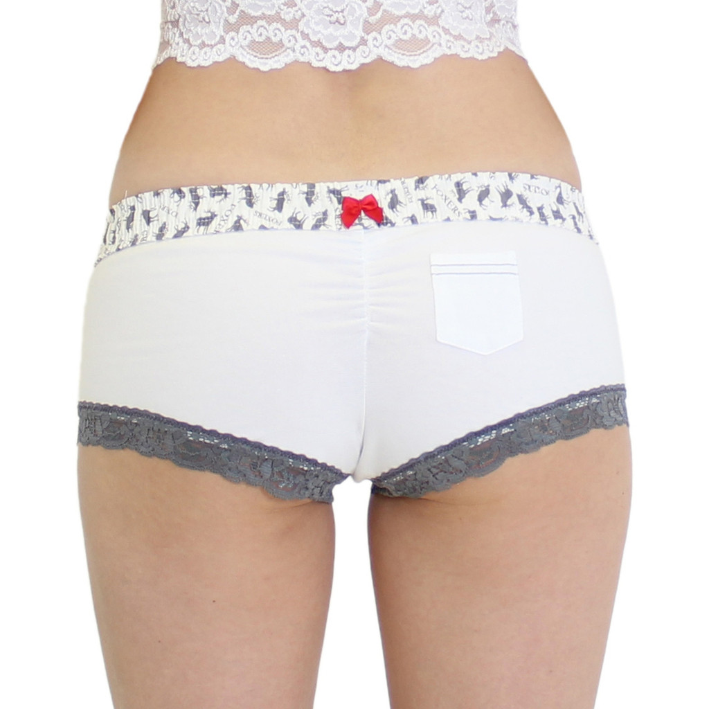 Women's White Boy Short Boxer Briefs