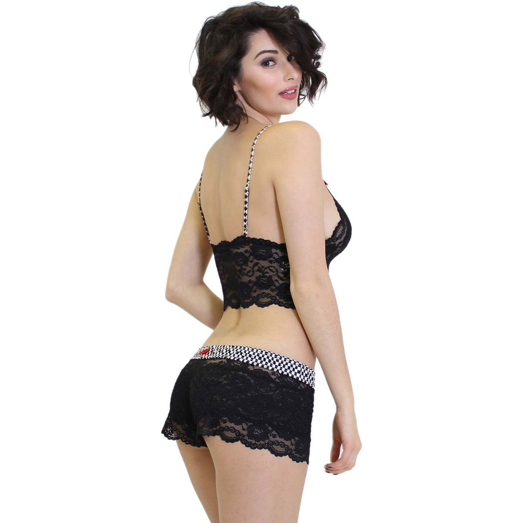 Fast Lane Collection Black Lace Bralette Cami and Matching Panties