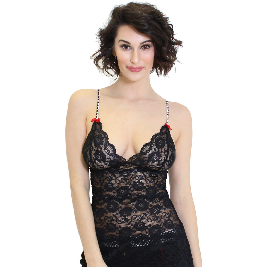 Black Lace Waist Length Chemise