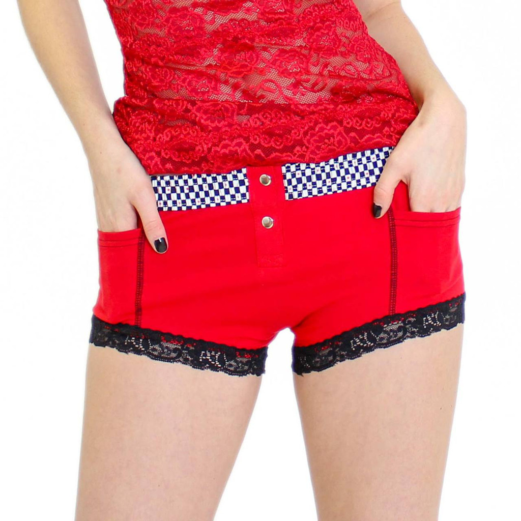 Red Boxer Briefs Hipsters Panties with Checkered FOXERS Band