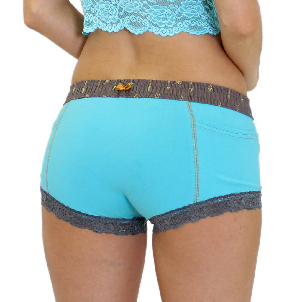 Turquoise Boxer Briefs for Ladies with a Gold Bow