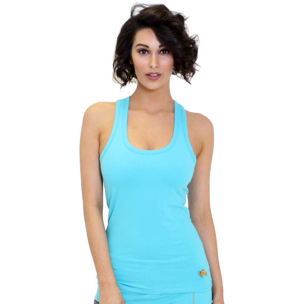 Turquoise Racer Back Women's Tank Top with Shelf Bra