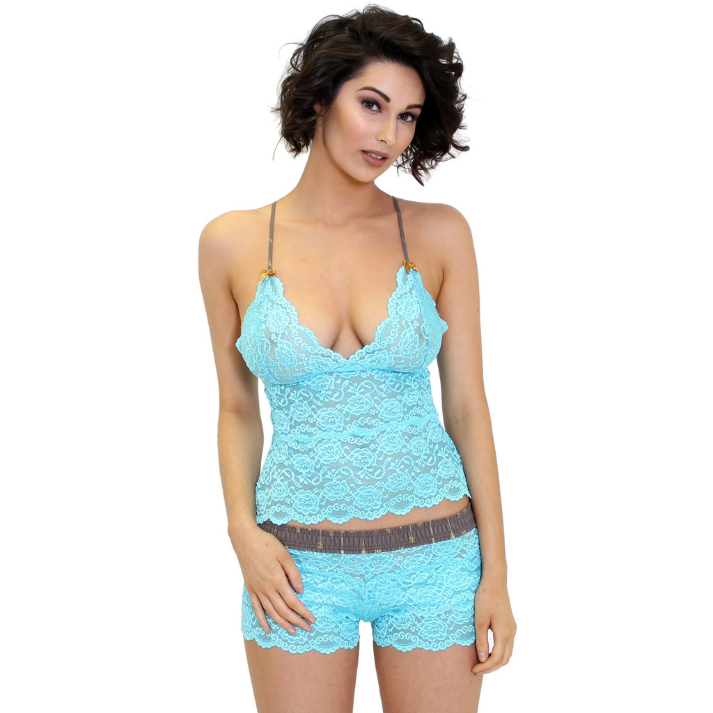 Turquoise Lace Boxer Briefs and Matching 2 Row Camisole Top