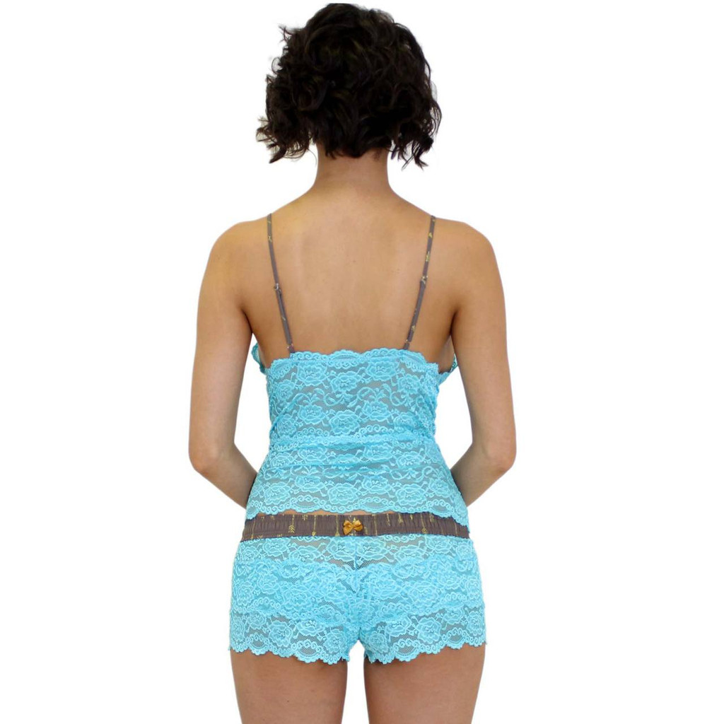 Women's Turquoise Lace Boxers with a Gold Bow on the Back